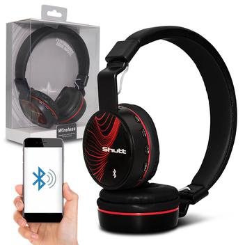 Fone de Ouvido Bluetooth Shutt Wave Sem Fio Entrada P2 SD Rádio FM MP3 Preto e Vermelho