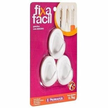 Gancho Plástico com Adesivo Pvc Suporta Até 0.7kg (kit 3pç) Primafer