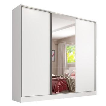 Guarda Roupa Casal 100 MDF com Espelho Madesa Royale 3 Portas de Correr
