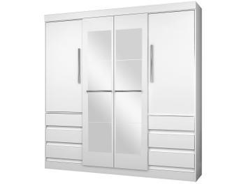 Guarda-roupa Casal com Espelho 4 Portas 6 Gavetas - Araplac Sofia