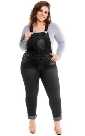 Jardineira Jeans Preta Longa Plus Size - Lavanda e alecrim