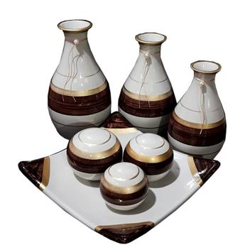 Jogo Vasos Decorativos Lindos De Ceramica Centro Mesa Sala - Jogo De Vasos Decorativos