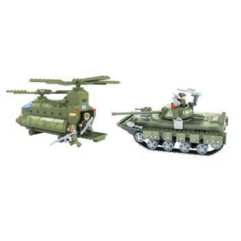 Kit 2 Brinquedos De Montar Tanque E Helicóptero Exército - Playcis