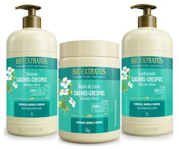 Kit Cachos E Crespos Shampoo + Condicionador 1 Litro + Máscara 1 Kg - Bio extratus