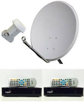 Kit Claro Tv Pré-Pago Mercantil 2 Receptores Digital + Antena 60 cm lisa - Visiontec