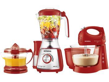Kit Premium Inox Gourmet Red IV Mondial - com Liquidificador + Batedeira + Espremedor