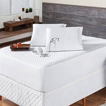 Kit Protetor p/ Colchão Impermeável Aconchego Casal + Protetor de Travesseiro - 03 Peças - Branco - Vivart enxovais