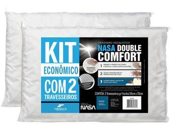 Kit Travesseiro Nasa Fibrasca de Cabeça - Viscoelástico Double Comfort 2 Peças