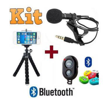 Kit Youtuber Microfone De Lapela Para Celular + Controle Bluetooth + Tripé - Negocio de gênio