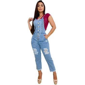 Macacão Jardineira Feminina Jeans Longo Retrô  EWF Jeans