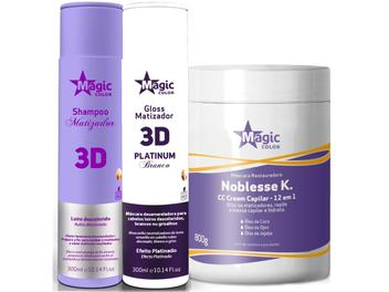 Magic Color - Kit 3D Shampoo 300ml + Matizador Platinum Branco 300ml + Noblesse K 800g