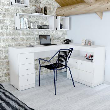 Mesa para Computador PC Job Canto 2 Portas 3 Gavetas Caemmun Branco