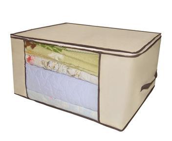 Organizador Tnt Caixa Closet Roupa Cama Edredom Toalha 60cm Cor: Creme - Unica