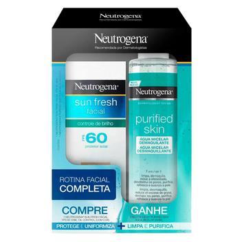Protetor Solar Facial Neutrogena Sun Fresh FPS 60 50ml + Água Micelar Purified Skin 200ml
