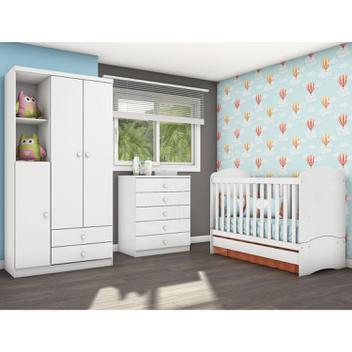 Quarto Infantil com Guarda Roupa 3 Portas, Cômoda e Berço Faz de Conta Siena Móveis Flex Color Branco/Branco/Rosa