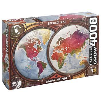 Queba cabeça puzzle 4000 pçs mapa mundi - grow