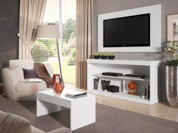 Rack Para TV 55 com Mesa de Centro e Painel Branco