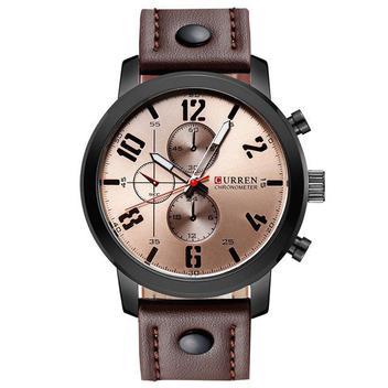 Relógio Masculino Curren Pulseira De Couro Esportivo Militar