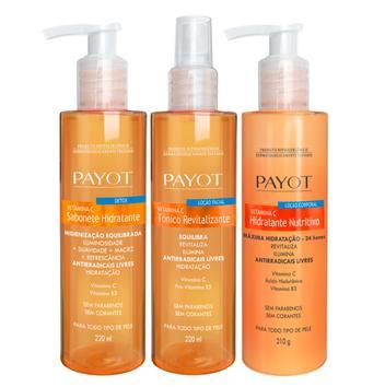 Sabonete Hidratante Detox + Tônico Revitalizante Facial + Hidratante Corporal Nutritivo Vitamina C Payot - C/3 Itens