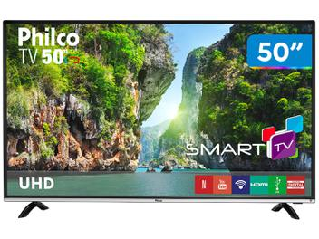 "Smart TV 4K LED 50"" Philco PTV50F60SN Wi-Fi - Conversor Digital 3 HDMI 1 USB"
