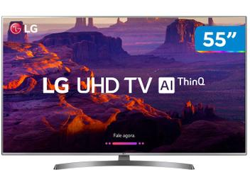 "Smart TV 4K LED 55"" LG 55UK6540 Wi-Fi HDR - Inteligência Artificial Conversor Digital 4 HDMI"