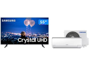 "Smart TV Crystal UHD 4K LED 55"" Samsung 55TU8000 - Wi-Fi Bluetooth + Ar-condicionado Split Inverter"