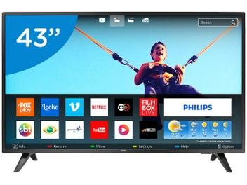 "Smart TV LED 43"" Philips Full HD 43PFG5813/78 - Conversor Digital Wi-Fi 2 HDMI 2 USB"