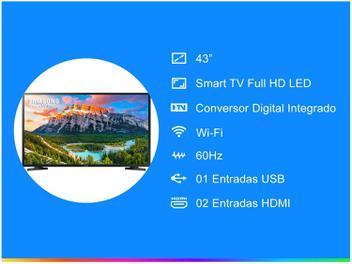 """Smart TV LED 43"""" Samsung Series 5 J5290 Full HD - Wi-Fi 2 HDMI 1 USB - Smart TV LED 43"""" Samsung Series 5 J5290 Full HD - Wi-Fi 2 HDMI 1 USB - A Smart TV LED J5290, linha Series 5 da Samsung de 43"""" tem resolução Full HD, sistema operacional Orsay, conversor digital integrado, Wi-Fi, 2 entradas HDMI, 1 entrada USB e DLNA.Com ela, desfrute de um nível de realismo de entretenimento em casa maior do que nunca. Graças a resolução 2x maior do que as de TVs HD normais..."""