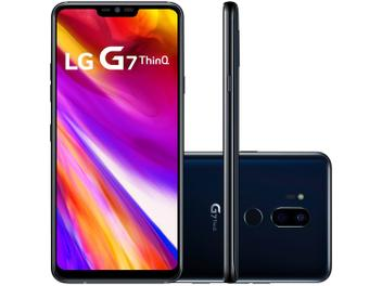"Smartphone LG G7 ThinQ 64GB Preto Dual Chip 4G - Câm. 16MP e 16MP + Selfie 8MP Tela 6,1"" Quad HD"