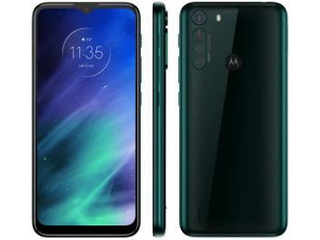 "Smartphone Motorola One Fusion 64GB Verde - Esmeralda 4G 4GB RAM Tela 6,5"" Câm. Quádrupla Verde"