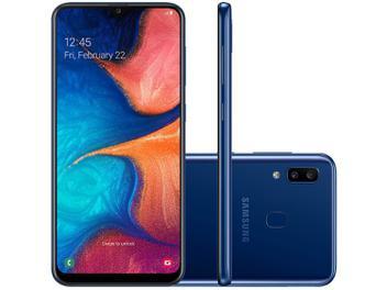 "Smartphone Samsung Galaxy A20 32GB Azul 4G - 3GB RAM 6,4"" Câm. Dupla + Câm. Selfie 8MP"