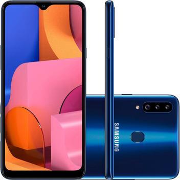 "Smartphone Samsung Galaxy A20s 32GB Dual 4G Tela 6,5"" Câmera Tripla 13MP+8MP+5MP Frontal 8MP Azul"