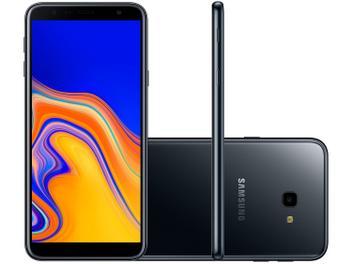 "Smartphone Samsung Galaxy J4+ 32GB Preto 4G - 2GB RAM Tela 6"" Câm. 13MP + Câm. Selfie 5MP"