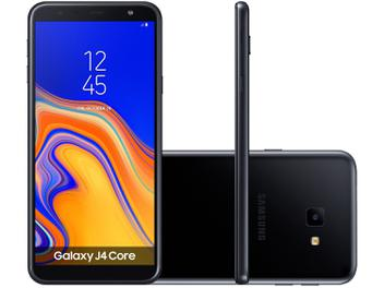 "Smartphone Samsung Galaxy J4 Core 16GB Preto 4G - Quad Core 1GB RAM Tela 6"" Câm. 8MP + Selfie 5MP"