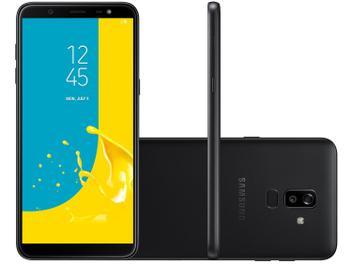 "Smartphone Samsung Galaxy J8 64GB Preto 4G - 4GB RAM Tela 6"" Câm. 16MP + 5MP + Selfie 16MP"