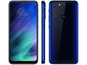 """Smartphone Motorola One Fusion 64GB Azul Safira - 4G 4GB RAM Tela 6,5"""" Câm. Quádrupla + Selfie 8MP Azul"""