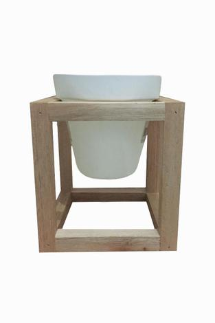 Vaso Aereo Cubo Madeira c/ Vaso Plastico Alce Couch Suporte Vaso Crú 17cm