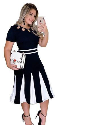 Vestido midi evangélico bicolor nesgas - Elegance