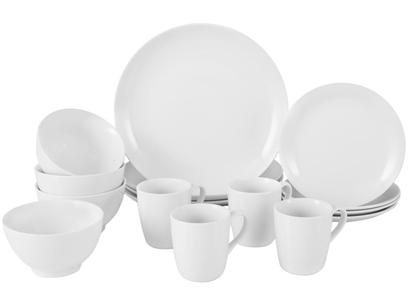Aparelho de Jantar 16 Peças Schmidt Porcelana - Redondo Branco Universal