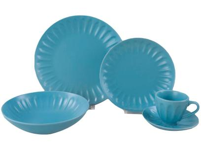 Aparelho de Jantar Chá 20 Peças Haus de Cerâmica - Azul Redondo Decorato