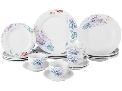 Aparelho de Jantar Chá 20 Peças Porcelana Schmidt - Redondo Floral Colorido Florence