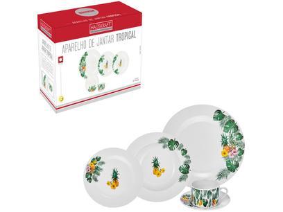 Aparelho de Jantar Chá 30 Peças Hauskraft - Porcelana Redondo Tropical