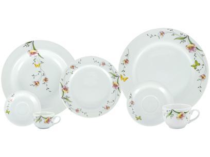 Aparelho de Jantar Chá e Café 42 Peças Porcelana - Schmidt Porcelana Redondo Branco Real Carmem