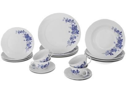 Aparelho de Jantar com Jogo de Chá 20 Peças - Porcelana Schmidt Redondo Azul Celeste