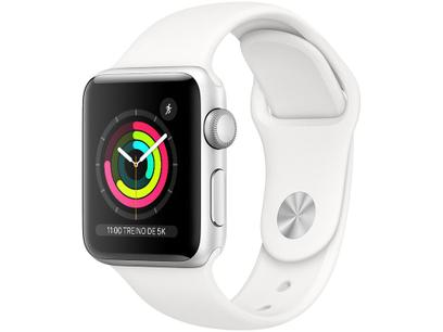 Apple Watch Series 3 (GPS) 38mm Caixa Prateada - Alumínio Pulseira Esportiva Branca