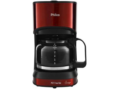 Cafeteira Elétrica Philco PCF17 Inox Red - Vermelha e Preta 15 Xícaras