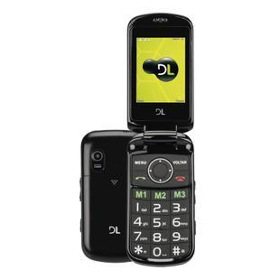 Celular DL YC130, Dual Chip, Função SOS, Lanterna, Câmera, Rádio FM, MP3, Micro SD