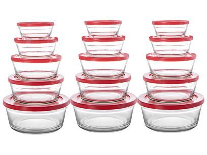 Conjunto de Tigelas de Vidro 15 Peças Casambiente - JGTI023/3V