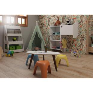 Conjunto Quarto Infantil Montessoriano com Armário, Estante e Mesa Confete Siena Móveis Branco