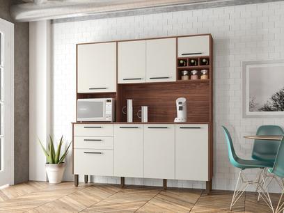 Cozinha Compacta Kits Paraná Ágata - Nicho para Micro-ondas 8 Portas 2 Gavetas